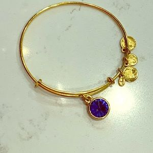 Alex and Ani gold and sapphire bracelet
